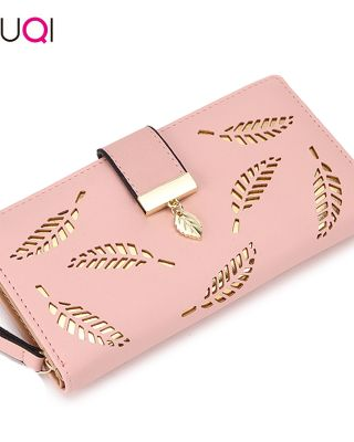SUQI Women Wallet Female Long Wallet Gold Hollow Leaves Pouch Wallet For Women