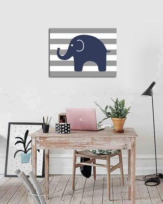 Frame Canvas Living Room Bedroom Background Wall Small Elephant Adornment Print