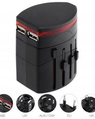 Universal Worldwide Dual USB Port Charging Travel Adapter