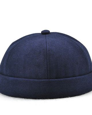 Men Solid French Brimless Hats Flanging Skullcap Sailor Cap