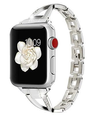 Huishang for Apple Watch Accessories, Women Jewelry Bangle Metal Stainless Steel Adjustable Bracelet with Rhinestone 38MM 40MM Editions Wristband for Apple Watch (Metal Silver 38mm/40mm)