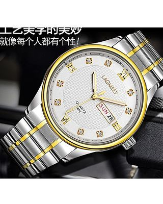 Luxury Men's Women's Female Ladies Unisex Wrist Watch With Date-Silver/Gold White Face