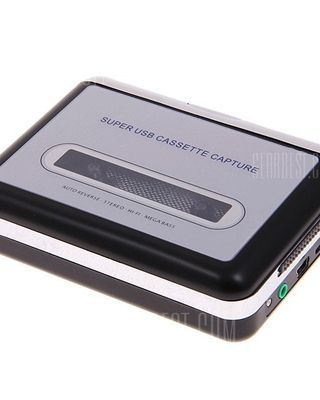 Super USB Cassette Capture Convert Tapes to CD/MP3 -Black with Silver