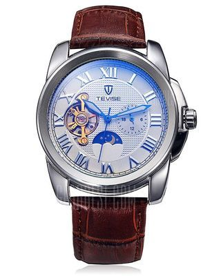Tevise 999 Men Tourbillon Automatic Mechanical Watch with Leather Strap