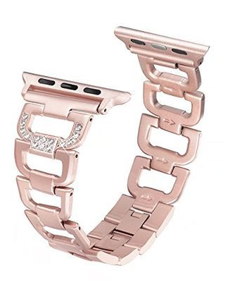 Secbolt Bling Band Compatible Apple Watch Band 38mm 40mm iWatch Series 4, Series 3, Series 2, Series 1, Diamond Rhinestone Stainless Steel Metal Wristband Strap, Rose Gold