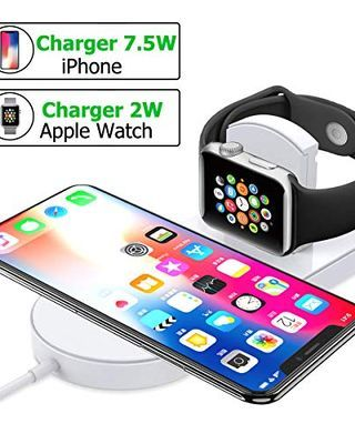 Wireless Charger Stand for Apple Watch, AHNR 2 in 1 Magnetic Charging Pad Charging Docks Holder Compatible with Apple iWatch Series, iPhone X/8/8 Plus, Samsung S8 Series, Note 8