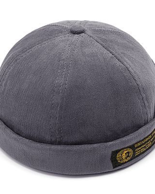 Mens Corduroy Adjustable Solid French Brimless Hats