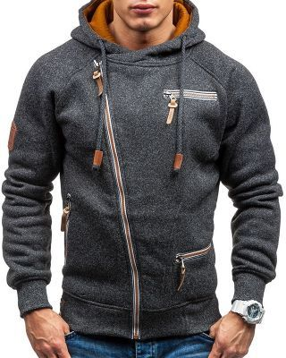 Men's Fashion Zipper Hoodies Cotton Casual Sweatshirts