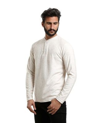 Rounded Full Sleeves T-shirt - Beige