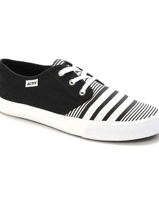 Striped Lace Up Shoes - Black